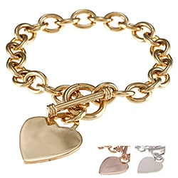 Sterling Essentials Heavy Silver 7.5-inch Heart Toggle Bracelet