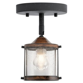 Aztec 1-light Distressed Black/Aged Wood Halogen Flush Mount