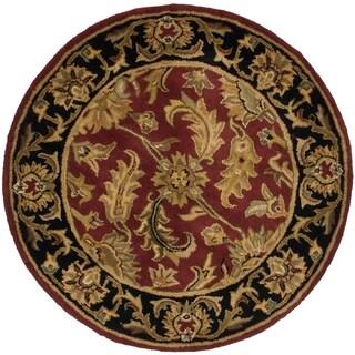 Safavieh Handmade Heritage Kashan Burgundy/ Black Wool Rug (3'6 Round)