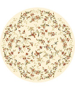 Lyndhurst Collection Floral Beige Rug (8' Round)