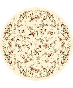 Lyndhurst Collection Floral Beige Rug (8' Round)