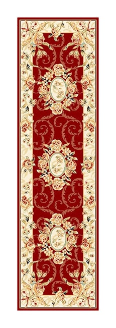Safavieh Lyndhurst Collection Aubussons Red/ Ivory Runner (2'3 x 8')
