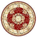 Lyndhurst Collection Aubussons Red/ Ivory Rug (5' 3 Round)