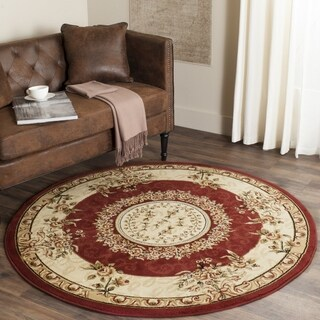 Safavieh Lyndhurst Collection Aubussons Red/ Ivory Rug (5' 3 Round)