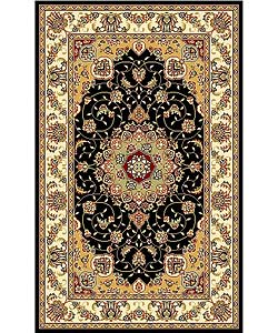 Lyndhurst Collection Traditional Black/ Ivory Rug (3'3 x 5'3)