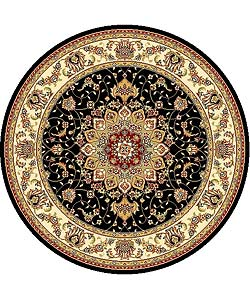 Lyndhurst Collection Traditional Black/ Ivory Rug (5' 3 Round)