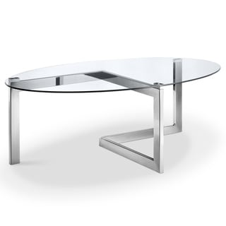 Aries Modern Chrome and Glass Top Oval Cocktail Table