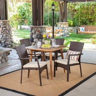 Marias Outdoor 5 Piece Wood and Wicker Dining Set by Christopher Knight Home