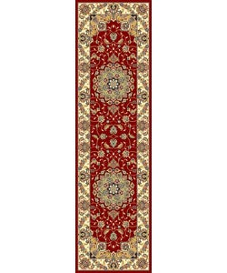Lyndhurst Collection Red/ Ivory Traditional Style Runner (2'3 x 8')