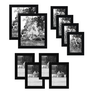Americanflat 10-Piece Multipack Black Frames - Includes Two 8x10 Frames, Four 5x7 Frames, and Four 4x6 Frames