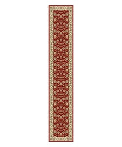 Lyndhurst Collection Floral Burgundy/ Ivory Runner (2'3 x 12')