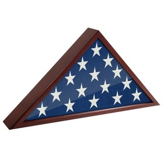 Americanflat Flag Case Frame - Display Case for 5x9.5' Flag with Mahogany Finish