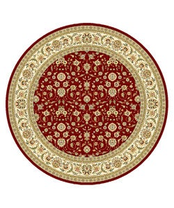Safavieh Lyndhurst Collection Floral Burgundy/ Ivory Rug (8' Round)