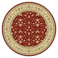 Lyndhurst Collection Floral Burgundy/ Ivory Rug (8' Round)