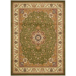 Large Lyndhurst Collection Sage/Ivory Rug (8' x 11')