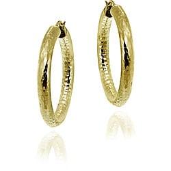 Mondevio 18k Gold over Sterling Silver Hoop Earrings