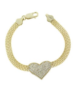 Icz Stonez 18k Gold over Sterling Silver CZ Heart Bracelet