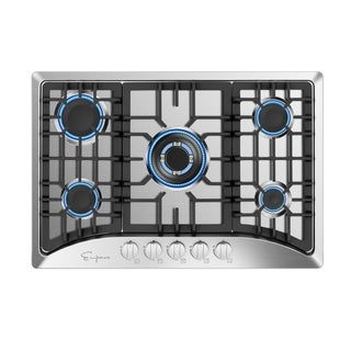 Empava 30 in Gas Stove Cooktop with 5 Italy Sabaf Sealed Burners NG/LPG Convertible in Stainless Steel