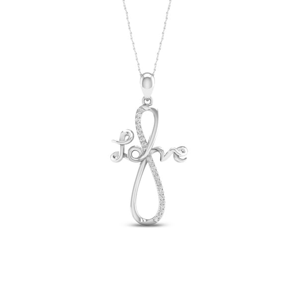De Couer 10k White Gold 1/10ct TDW Diamond Love Infinity Necklace 37471667