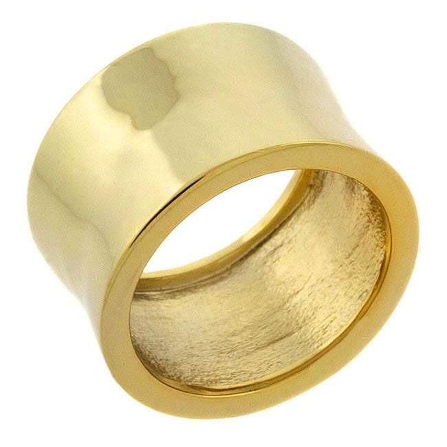 Mondevio 18k Over Sterling Silver Shiny Concave Pipe Ring