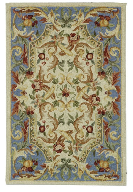 Safavieh Hand-hooked Aubusson Fruit Ivory/ Blue Wool Rug (2'6 x 4')