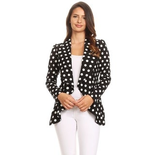 Women's Solid Color Loose Fit Draped Front Blazer Jacket