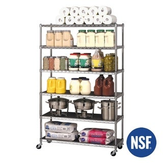 Seville Classics 48 in W x 18 in D x 72 in H, UltraDurable Commercial-Grade 6-Tier Steel Wire Shelving with Wheels