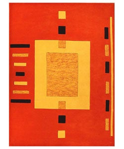 Hand-tufted Square Orange Wool Rug (5' x 8')