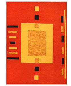 Hand-tufted Square Orange Wool Rug (8' x 10'6)