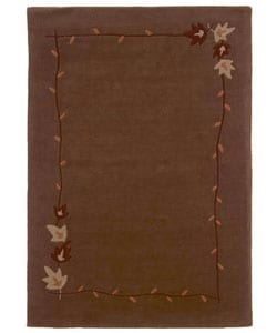 Hand-tufted Autumn Brown Wool Rug (8' x 10'6)