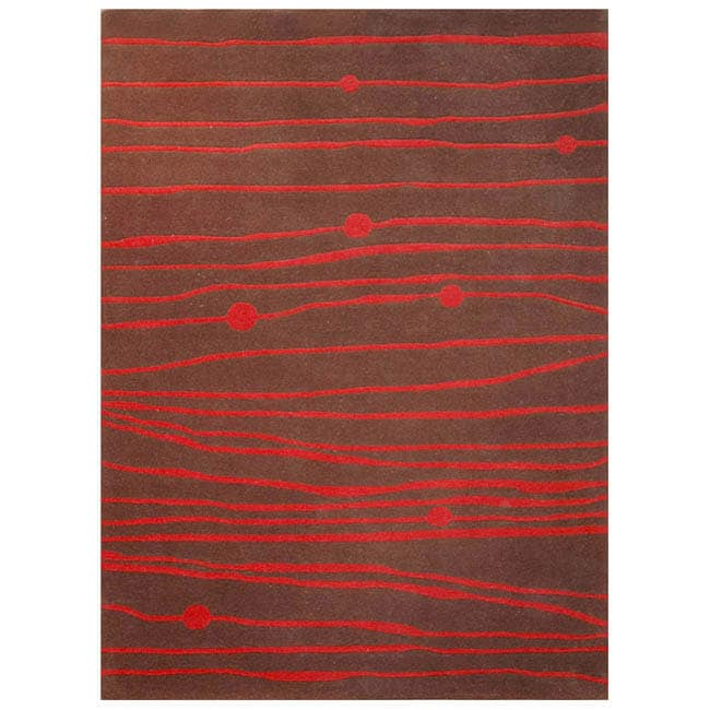 Hand-tufted Zoom Red Wool Rug (8' x 10'6)