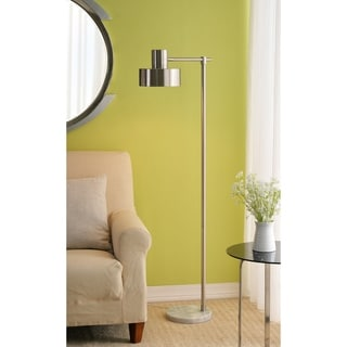 "Bellamy 62-inch Brushed Steel and Marble Floor Lamp - 11"" x 18"" x 62"" H"