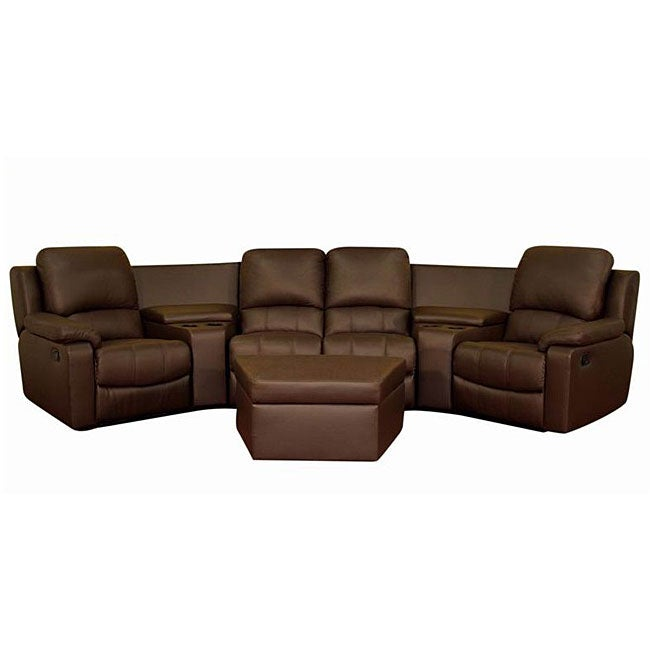 Brown leather 7 piece recliner sectional seating w for Reclining sectional sofa with ottoman
