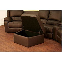 Brown Leather 7-piece Recliner Sectional Seating w/ Ottoman