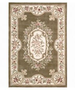 Nourison Hand-tufted Aubusson Garden Khaki Wool Rug (5'3 x 7'9)