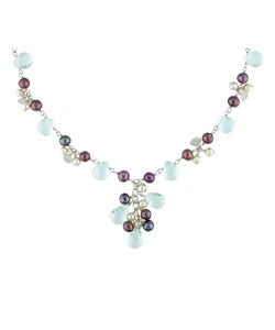 Miadora New York Pearls Silver Topaz New York Pearls Cultured FW Pearl Necklace