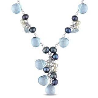 M by Miadora Pearls Silver Topaz Pearls Cultured FW Pearl Necklace with Bonus Earr