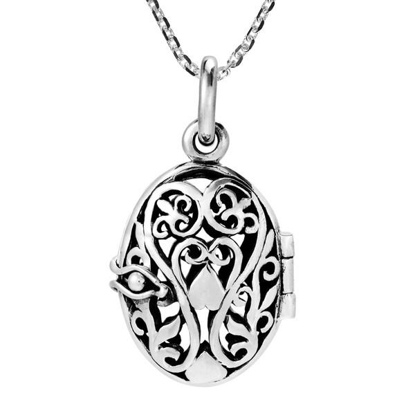 Handmade Romance Sterling Silver Filigree & Heart Locket Necklace (Thailand) 37611727