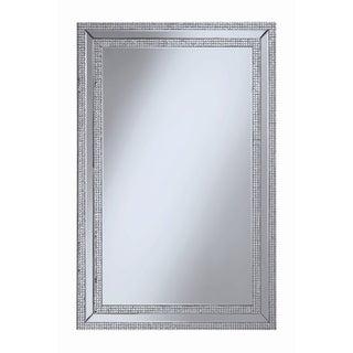 """Contemporary Silver Rectangular Wall Mirror - 31.50"""" x 0.75"""" x 47.25"""""""
