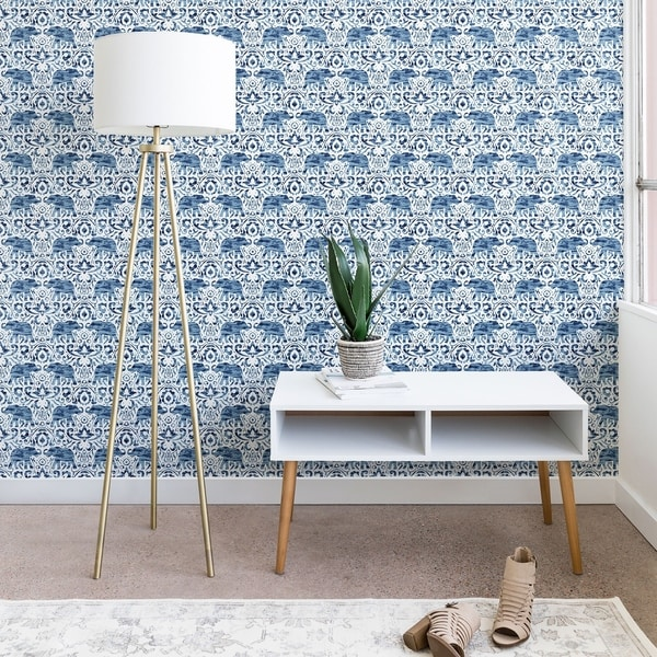 Jacqueline Maldonado Elephant Damask Watercolor Blue Wallpaper