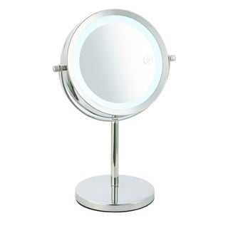 Home Basics Chrome Cosmetic Mirror and LED Light