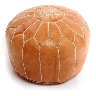 The Curated Nomad Aptos Handmade Moroccan Leather Pouf Authentic Ottoman