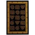 Hand-hooked Geo Black Wool Rug (3'9 x 5'9)
