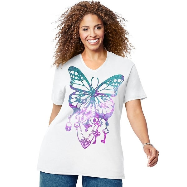 Just My Size Womens Bedecked Butterfly Short Sleeve Graphic Tee (GTJ181 Y07188) 37639346
