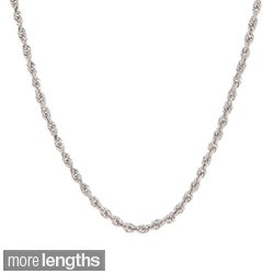 Roberto Martinez 14k White Gold Diamond-cut Rope Chain Necklace (1.5 mm) (16-30 inches)