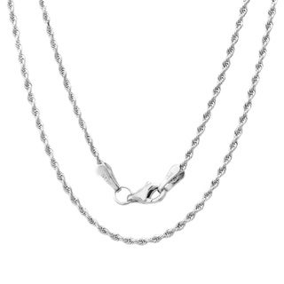 Sterling Essentials 14k White Gold Diamond-cut Rope Chain Necklace