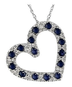 Miadora 10k White Gold Sapphire Heart Pendant with Diamond Accent