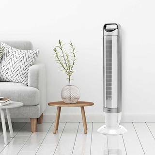Seville Classics White UltraSlimline 40 in 3-Speed Oscillating Tower Fan with Tilt Feature
