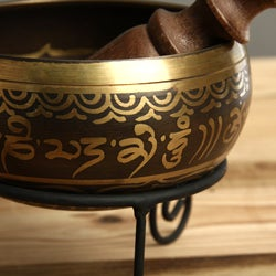 Handmade Bronze Singing Bowl with Stand (Nepal)