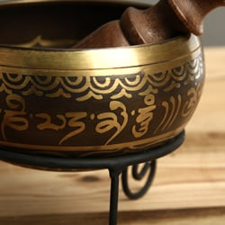 Handmade Bronze Singing Bowl with Stand, Handmade in, Handmade in Nepal
